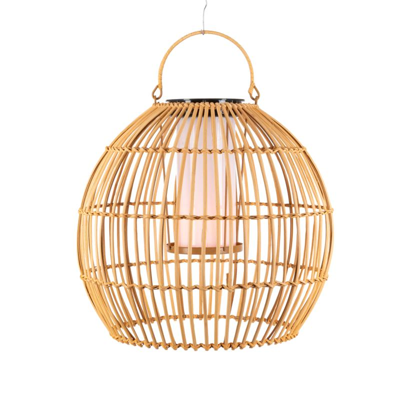 """The Gerson Co. 13"""" Hanging Solar Flame Effect Bamboo Pendant Light"""