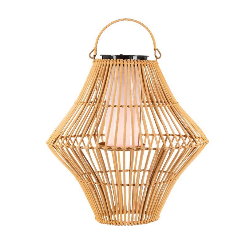 """The Gerson Co. 13.8"""" Hanging Solar Flame Effect Bamboo Pendant Light"""