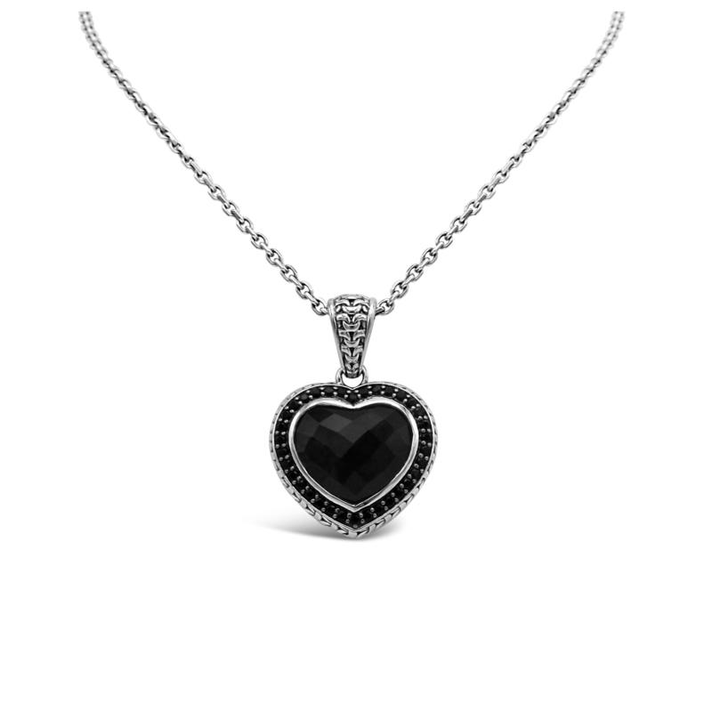 Tiffany Kay Studio Onyx and Spinel Purl Knit Heart Pendant with Chain