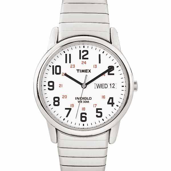 Timex Men's White Dial Easy Reader Expansion Watch