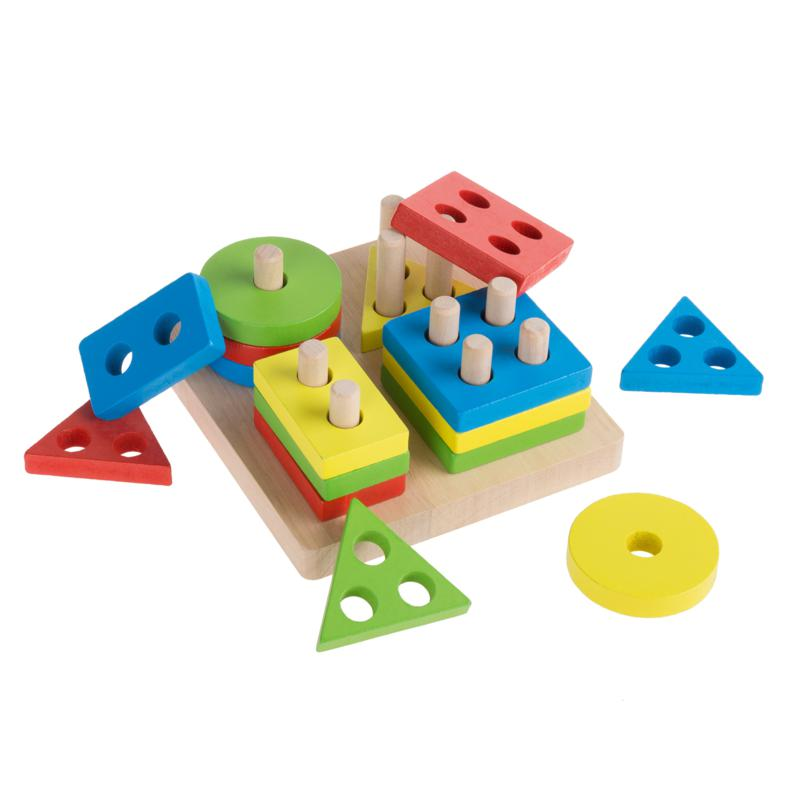 Toy Time Wooden Shape Sorter 16-Piece Puzzle Toy