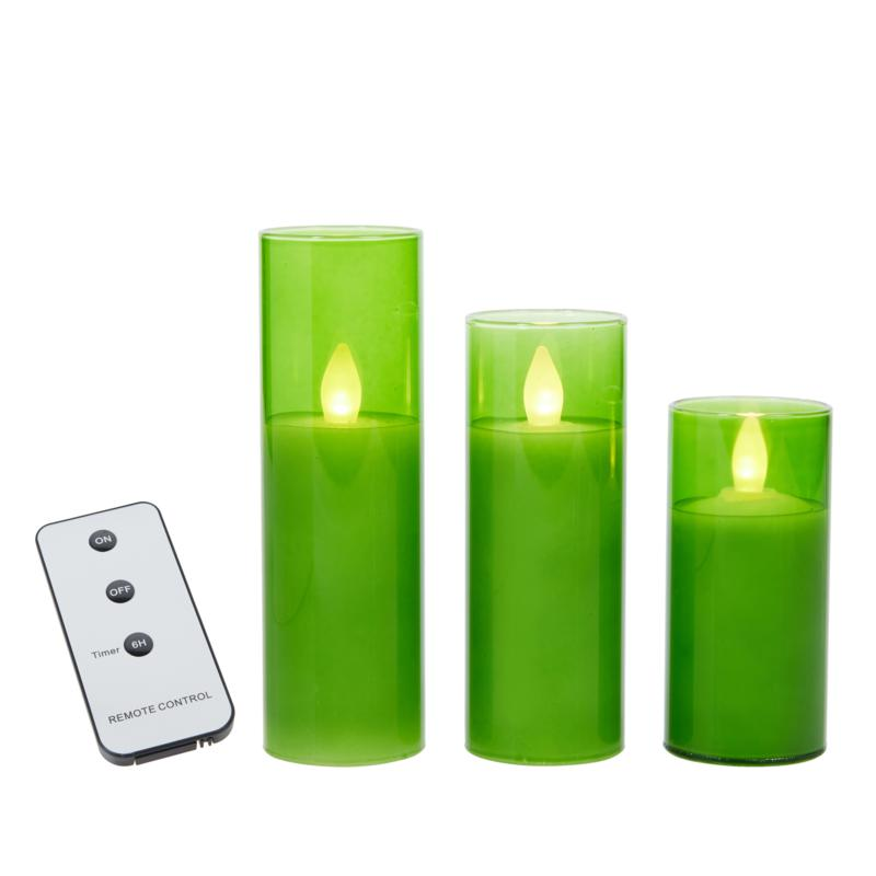 Unmatched 3-pack Glass Flameless Candles with Remote