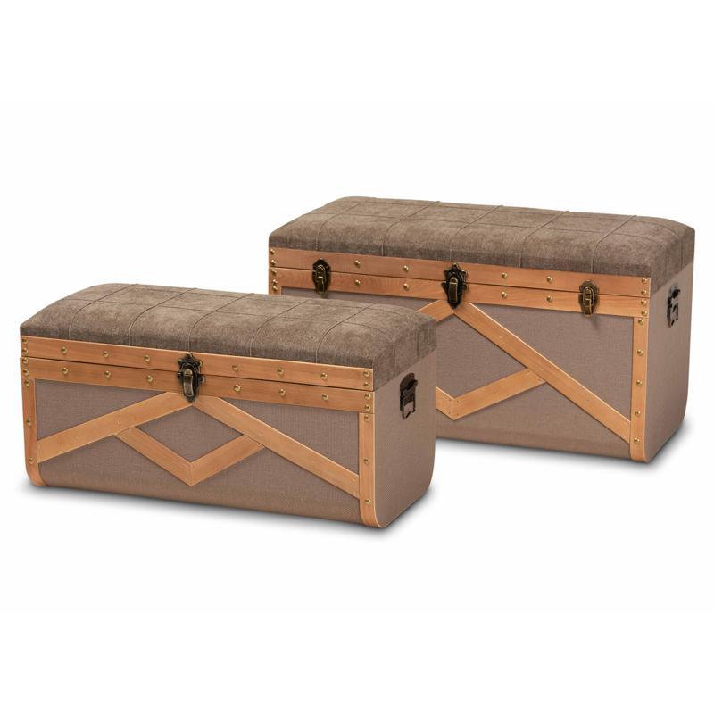 Wholesale Interiors Kala Upholstered Storage Ottoman Trunk 2-Piece Set