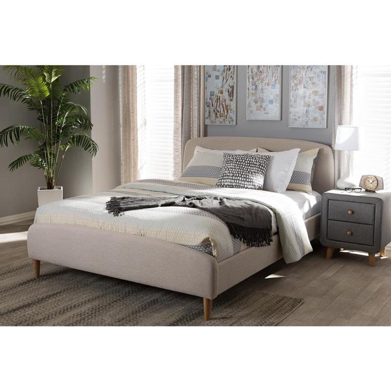 Wholesale Interiors Mia Fabric Upholstered Queen-Size Platform Bed