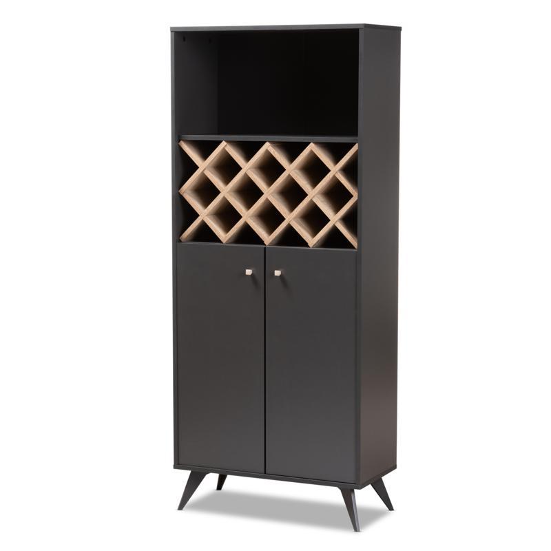 Wholesale Interiors Serafino 3-Shelf Wood Wine Cabinet