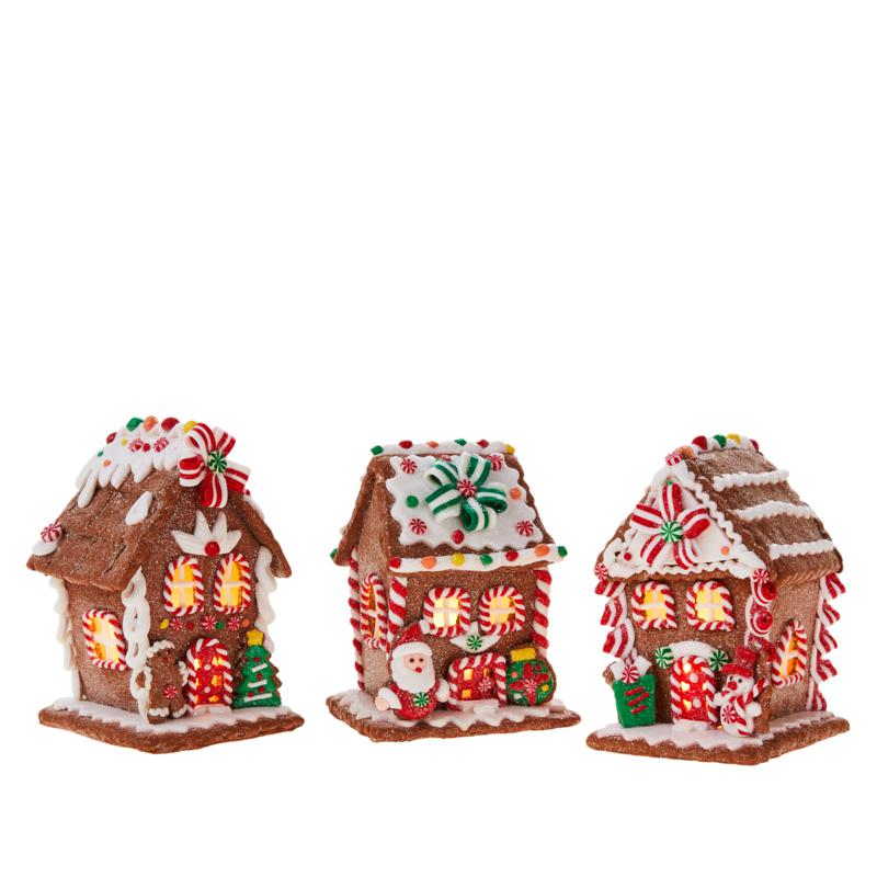 Winter Lane 3-pk  Battery-Operated Lighted Gingerbread Houses w/Timer