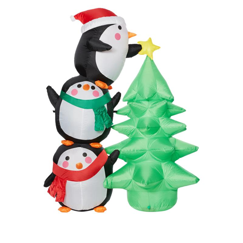 """Winter Lane 82"""" Christmas Tree and Penguin Trio Holiday Inflatable"""