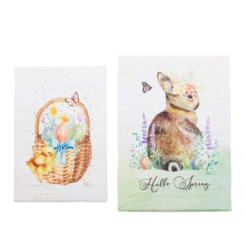 Winter Lane Bunny and Chick Set of 2 Canvases with Timers