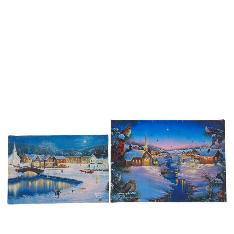 Winter Lane Set of 2 Winter's Eve Mini Fiber-Optic Canvas Set