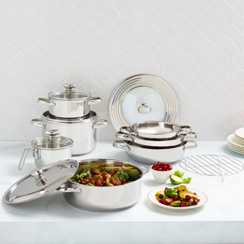 13-Piece Wolfgang Puck Stainless Steel Cookware Set