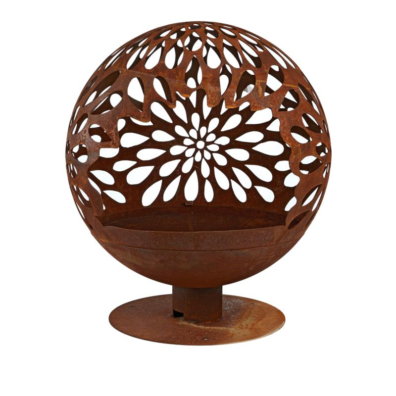 Wood-Burning Metal Fire Bowl with Laser-Cut Design