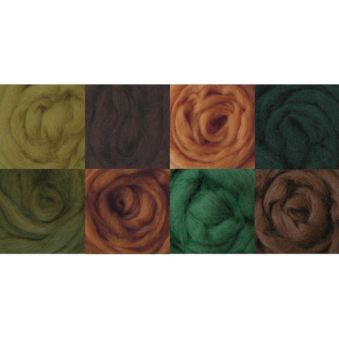 Wool Roving - Woodsy 8 Pack