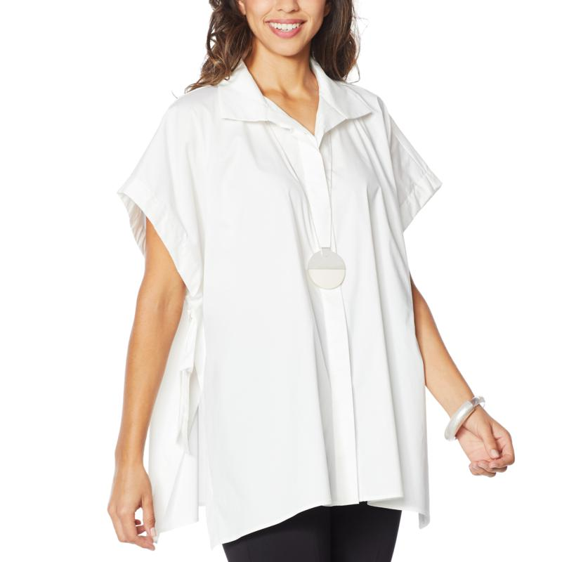 WynneLayers Stretch Poplin Button-Front Poncho Shirt
