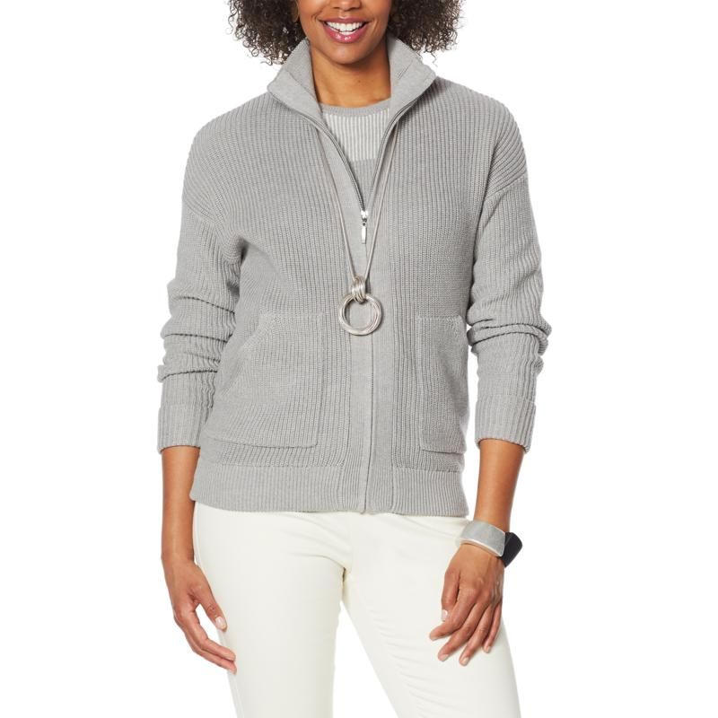 WynneLayers Sweater Knit Bomber Jacket