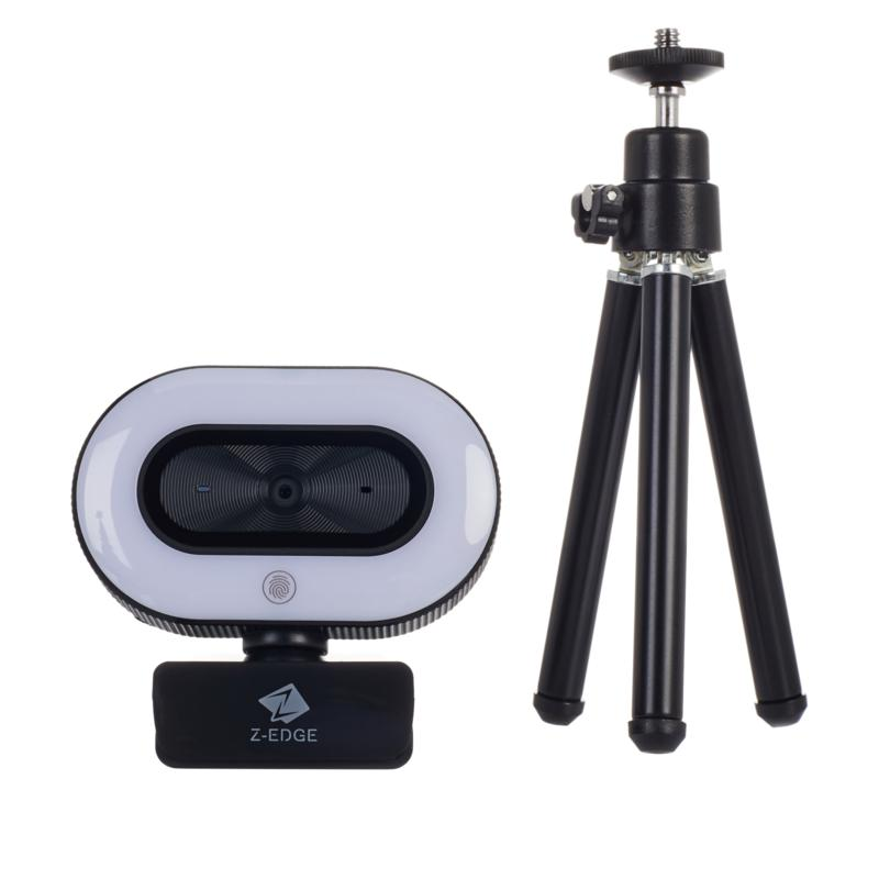 Z-Edge 1080P Full HD Webcam with Ring Light and Tripod