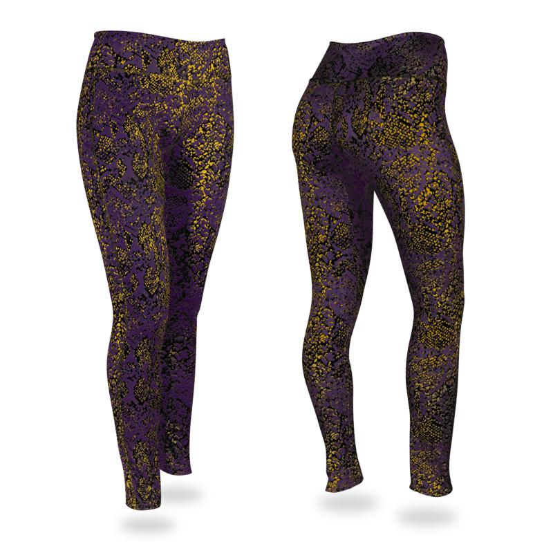 Zubaz Purple, Gold and Black Post Print Leggings