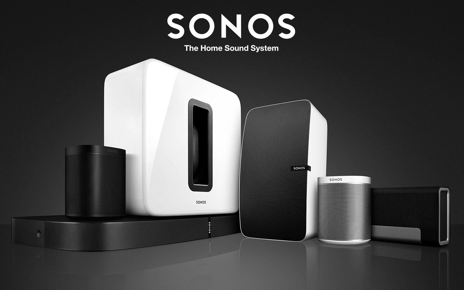 Sonos The home sound system. several black and white speakers.